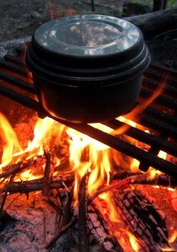 pot on campfire